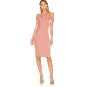 NWT CINQ A SEPT Pink Velvet Ruffle Dress